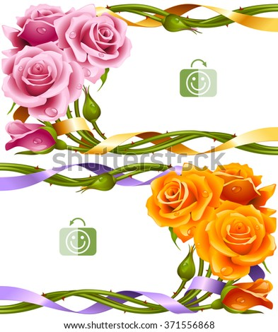 Vector horizontal frame set of yellow and pink roses intertwined with a ribbon - stock vector
