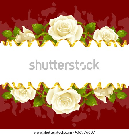 Vector horizontal frame whith white roses and golden ribbon