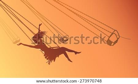 Vector horizontal illustration girl on swing carousel with background of orange sky. - stock vector