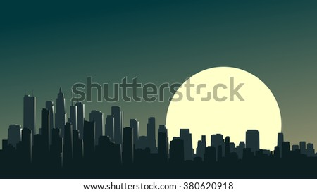 Vector horizontal illustration of abstract big city and skyscrapers with glare from moon.