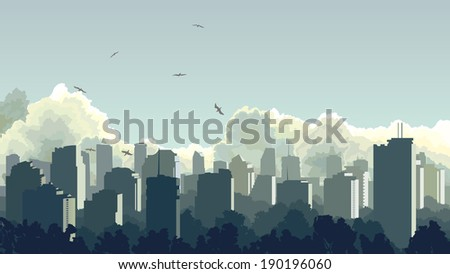 Vector horizontal illustration of big city and skyscrapers with clouds, sky. - stock vector