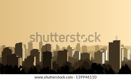Vector horizontal illustration of big city with skyscrapers and glare on it from sun. - stock vector