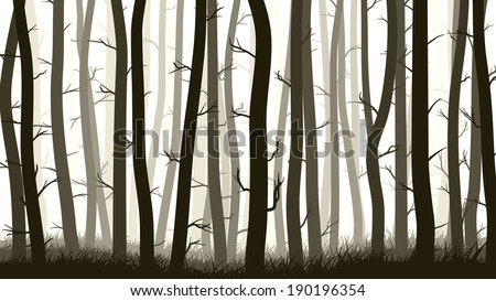 Vector horizontal illustration of many pine trees with grass. - stock vector