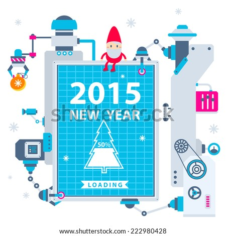 Vector horizontal illustration of the gnome operates the machines that holds Christmas billboard showing loading of the new year. Color bright flat design for card, banner, poster, advertising, blog  - stock vector
