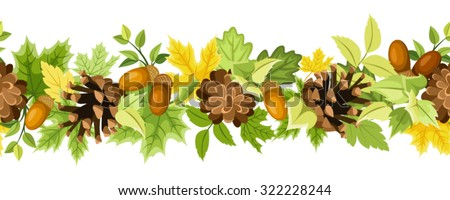 Vector horizontal seamless background with green and yellow autumn leaves, cones and acorns on a white background. - stock vector
