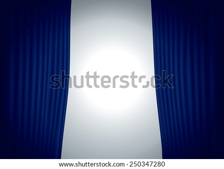 vector horizontal stage with blue velvet curtain and spot light - stock vector