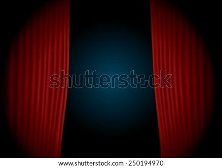 vector horizontal stage with red velvet curtain and spot light - stock vector