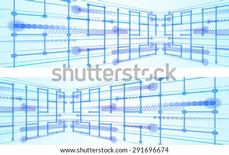 Vector horizontal web banner design with perspective global communication theme graphic. - stock vector