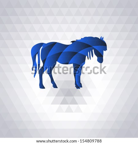 Vector horse. Abstract horse of geometric shapes. Christmas and New Year card. Year of the horse.