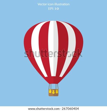 Vector hot air balloon web flat icon. Eps 10. - stock vector