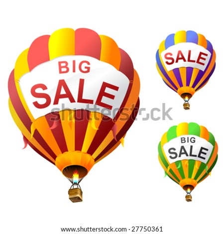 vector hot air balloons with banners - stock vector