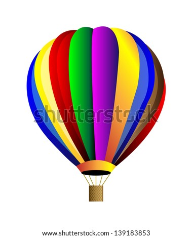 Vector hot air colorful balloon. Isolation over white background.
