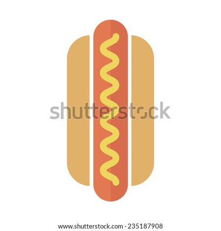 Vector Hot Dog icon in flat style - stock vector
