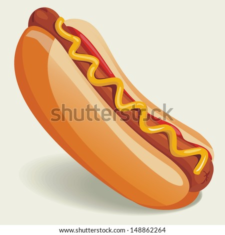 Vector Hot-Dog illustration - stock vector
