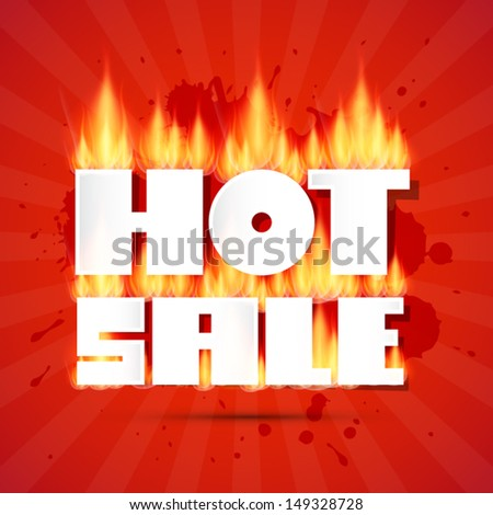 Vector Hot Sale Title In Flames on Red Background - stock vector