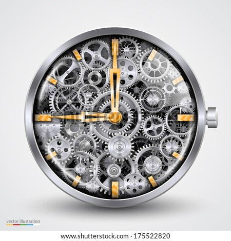 Vector hours of gears - stock vector