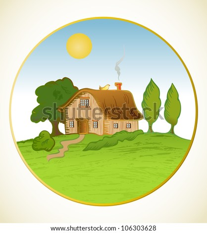 Vector house background with trees