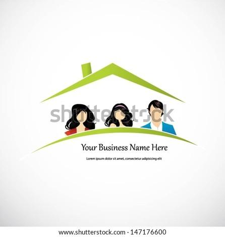 Vector house design for a family - stock vector