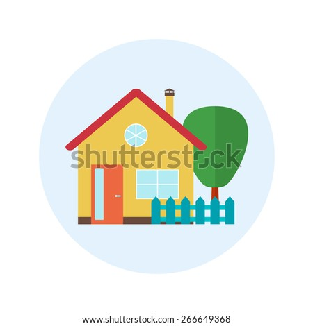 Vector house, home symbol. Flat design icon. Architecture estate illustration. Building with trees, door, windows. Blue, green, yellow, red, brown colors. - stock vector