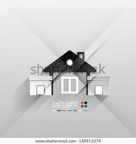 Vector house icon 3d paper design - stock vector
