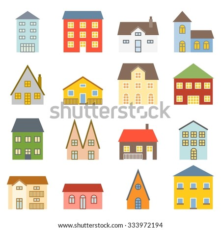 Vector house icons set, flat design