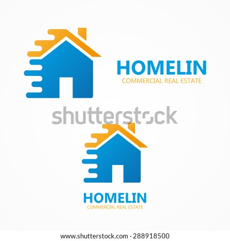 Vector house in motion  logo or icon - stock vector