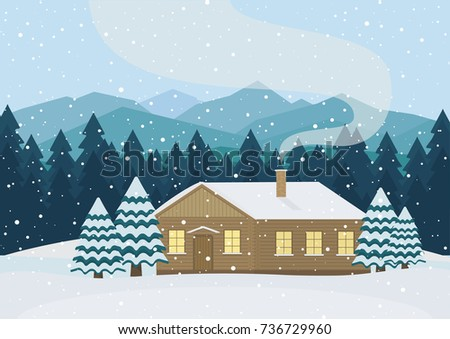 Vector house in the snowy forest