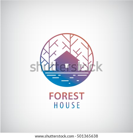 Vector house in the woods logo. Cabin in the forest silhouette logotype, property icon