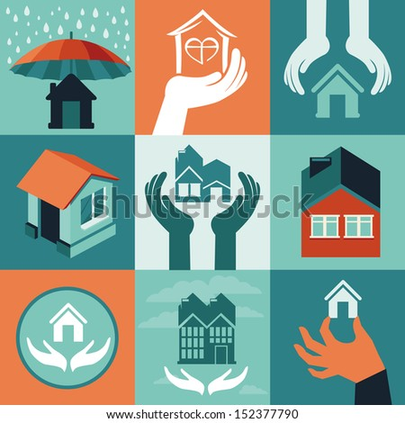 Vector house insurance - set of flat icons and banners - stock vector