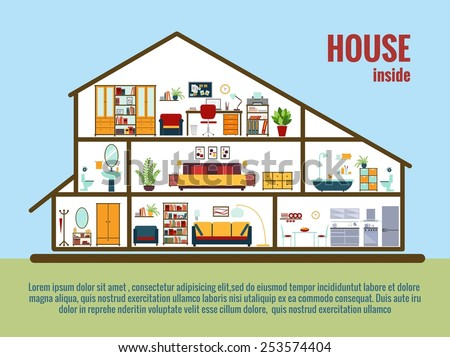 Vector house interior. House plan cross-sectional view room and bath, kitchen. Vector illustration - stock vector