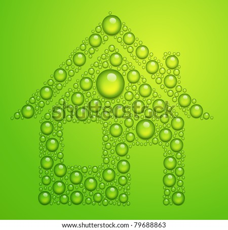 vector house of the water drops on green background - stock vector