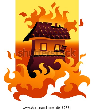 Vector House On Fire - stock vector