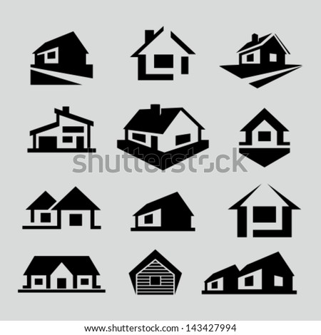 Vector house silhouette icons - stock vector