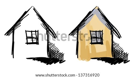 Vector house sketches. Black and white and colorful variants. - stock vector