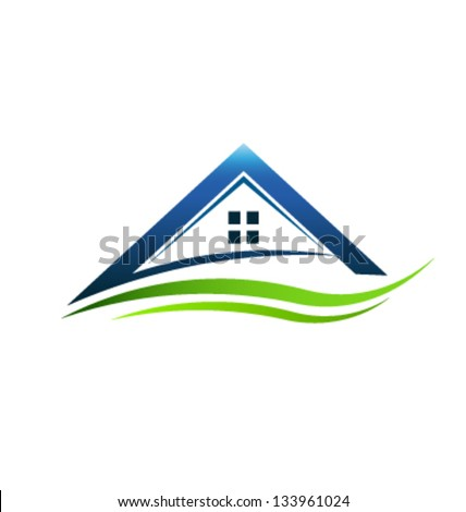 Vector House with green swoosh - stock vector