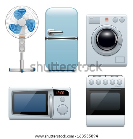 Vector Household Appliances Icons - stock vector
