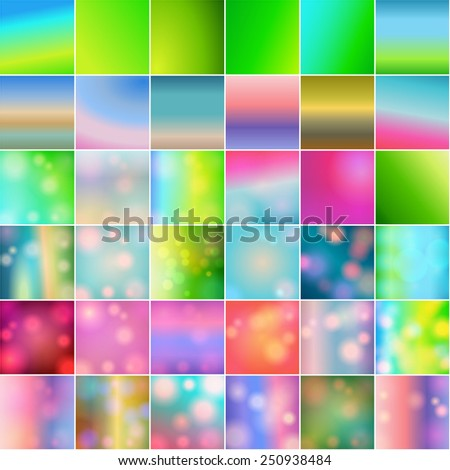 Vector huge set of 36 vintage, retro, abstract, colorful, blurred, defocused hipster spring backgrounds with light leaks - stock vector
