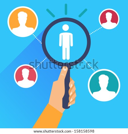 Vector human resources - hand holding magnifying glass in flat retro style - stock vector