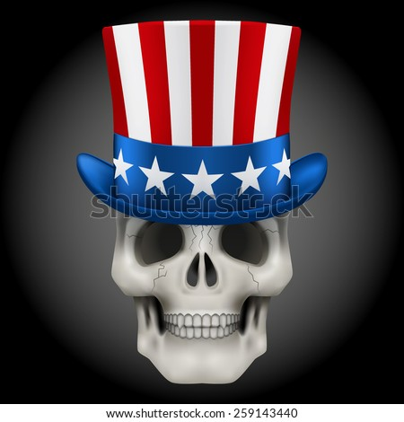 Vector Human skull with Uncle Sam hat on head. Illustration isolated on background - stock vector