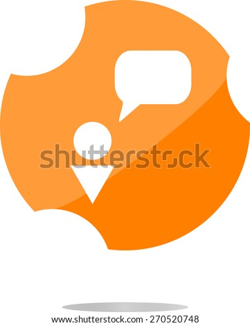 vector Human with blank dialog cloud web icon, web button, flat vector web icon isolated on white - stock vector