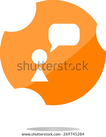 vector Human with blank dialog cloud web icon, web button. vector modern flat icons business, office and marketing items. Isolated on white background - stock vector