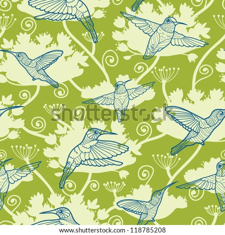 Vector Hummingbirds Among Flowers Seamless Pattern Background. Cut, hand drawn and colorful elements. - stock vector
