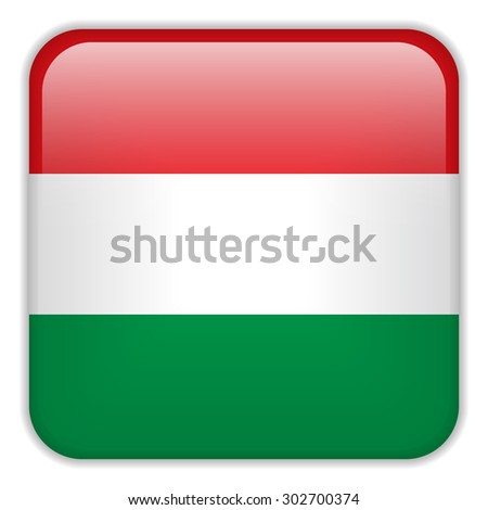 Vector - Hungary Flag Smartphone Application Square Buttons - stock vector