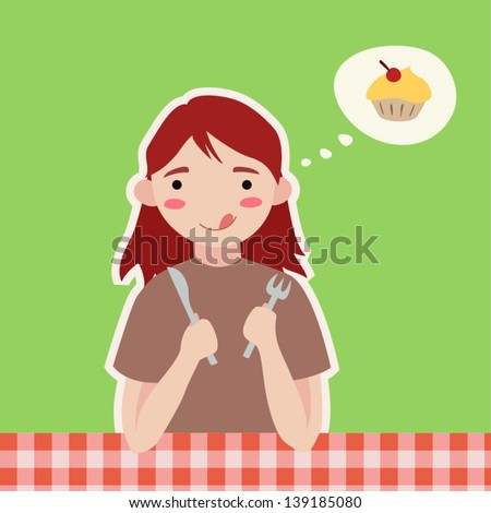 Vector hungry girl - stock vector