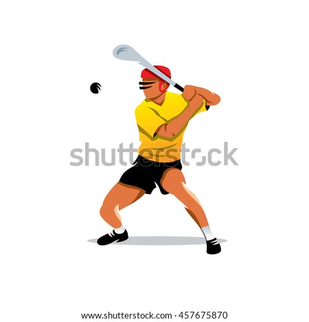 Vector hurling player Cartoon Illustration. Man in the helmet hits the ball with a club. Unusual Logo template isolated on a white background