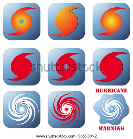 Vector hurricane sign, symbol set isolated on white