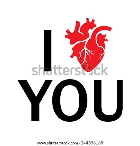 Vector i love you human heart - stock vector
