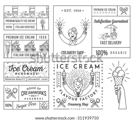 Vector ice cream badges and signs for any use - stock vector