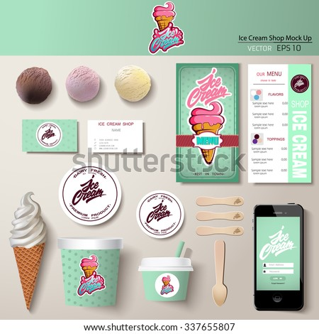 Vector ice cream corporate identity template design set. Branding mock up.