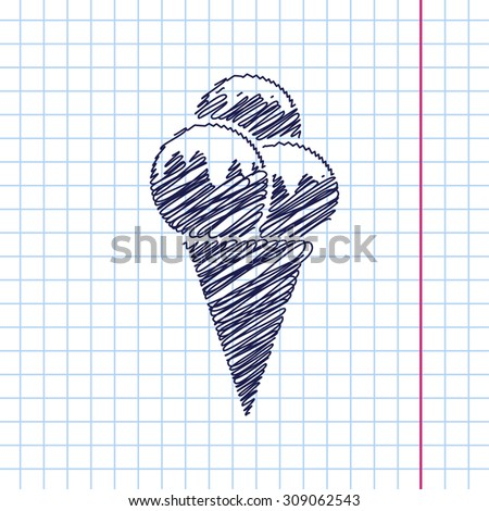 Vector ice-cream icon isolated on copybook background. Eps10